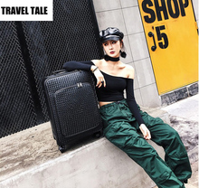 "TRAVEL TALE 16""20""24""inch women leather suitcases and travel bags trolley luggage bags with wheels"