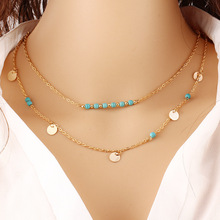 Romeda Gold Necklaces For Women Popular Sexy Charms Double Layer Turquoise Female Jewellery  Clavicle Dainty Necklace