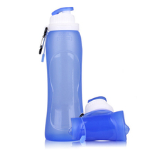 2016 Brand New Sale 500ml Travel Sport Size Flexible Eco-Friendly Folding Silicone Water Bottles Foldable Drinkware