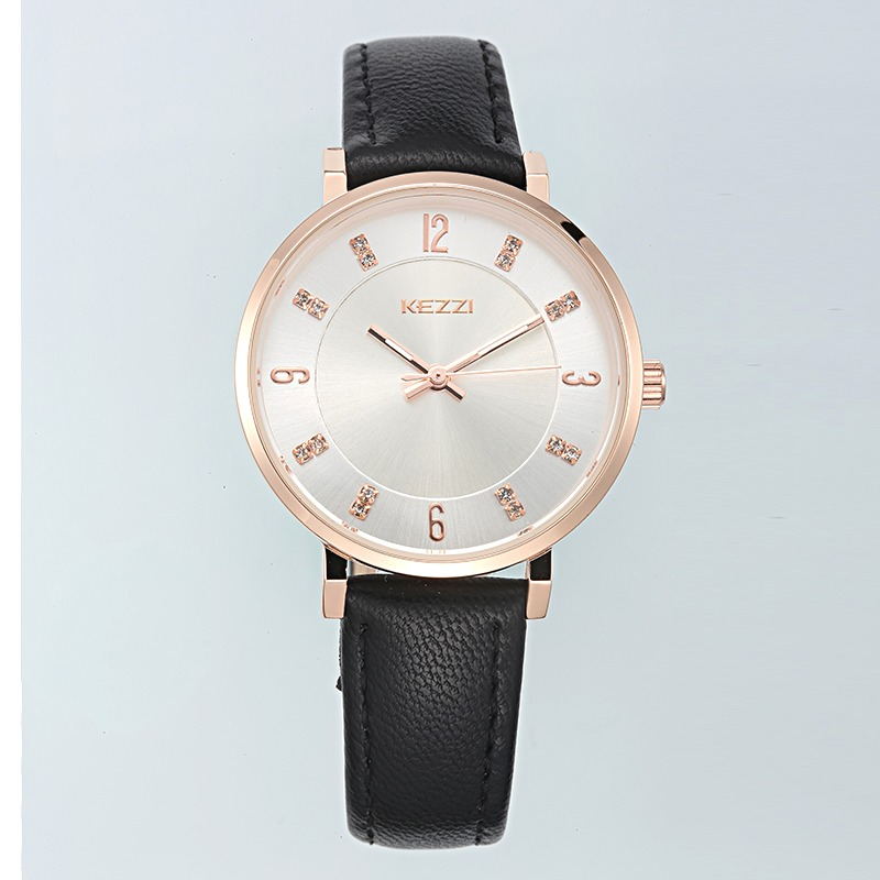 Womens dress rhinestone wristwatch New womens leather watches women fashion casual quartz watch Famous brand kezzi k1595 clock<br><br>Aliexpress