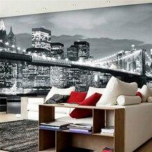 3D large living room mural night bar background wallpaper Manhattan Bridge in New York City black and white wallpaper Europe