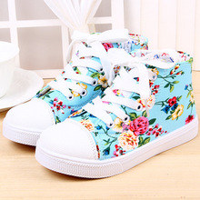 New arrival children shoes girls shoes fashion floral print canvas shoes kids beautiful flower casual girls high top sneakers