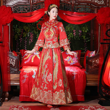 Luxury ancient Royal Red embroidery Chinese bride wedding dress Qipao Chinese Traditional Dress Women Oriental Qi Pao Size S-XXL(China)
