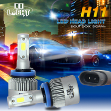H4 LED Headlight Kit Hi Lo Beam Car Head Lamp COB Chips Fog Light Pure White 6500k Led Light Car All-in-one Auto Headlight Bulbs(China)