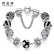 Christmas Gift Antique 925 Silver Beads Fit Original Bracelet & Bangle with Black Enamel Daisy Charm Bracelet for Women Jewelry