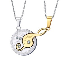 Vnox Music Design Couples Necklace Pendant for Lovers 316l Stainless Steel 2pcs/sets(China)
