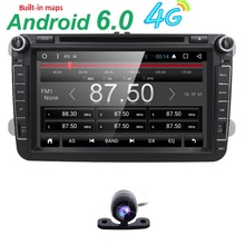 Android 6.0 car dvd player for VW Magotan Touran Golf Bora Sagitar car radio in dash 2 din 1024*600 car dvd player extenal MIC(China)