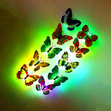 10PCS/lot Butterfly night light 3D Wall  Stickers can glow with retail box For Kids Room Living Roomhome decoration BA