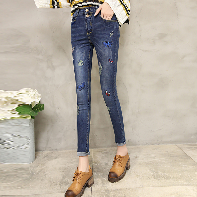 Denim High Waist Women Jeans embroidered boyfriend jeans for women black dark blue pantalon femme jardineira feminina mom jeansОдежда и ак�е��уары<br><br><br>Aliexpress