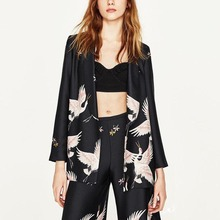 Fashion Blazers Kimono Floral Cranes Black Sashes Suit Slim Jacket Long Sleeve OL Women Cardigan Tops Outerwear Brand SY17-03-71