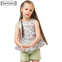 Sanlutoz Summer Children Clothes Cotton Flower Girls Clothing Sets Fashion Child Sets Party Brand Toddler ( T-Shirt + Shorts )