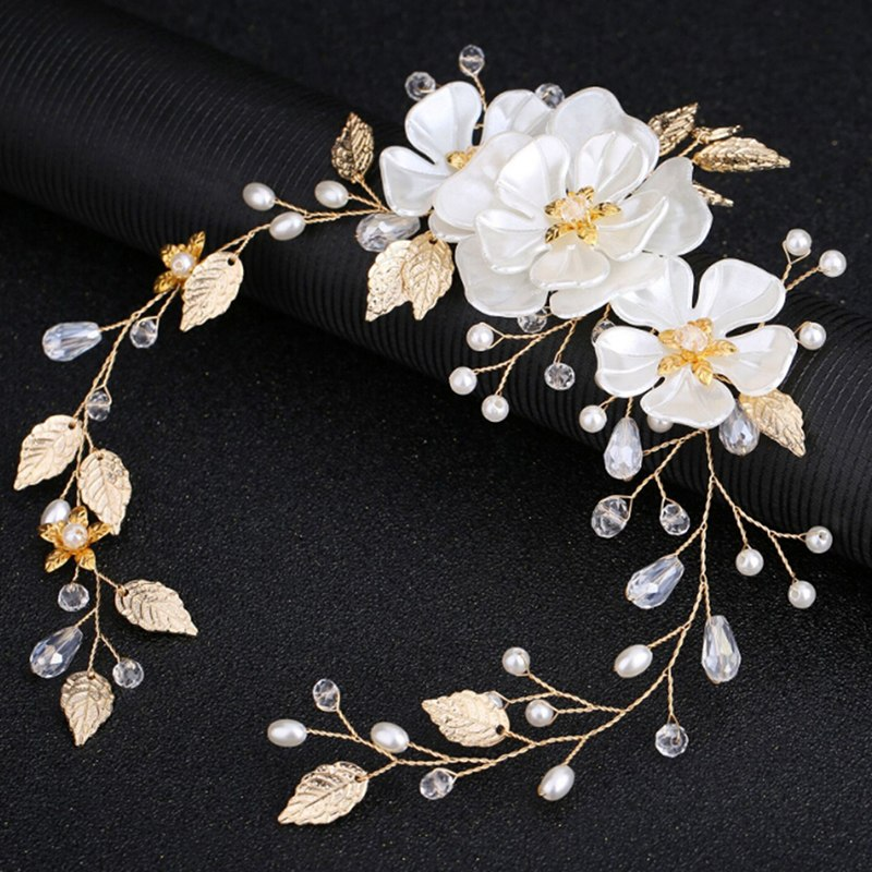 1Pcs Pearls Flower Hair Clips Bridal Wedding Crystal Rhinestone Hair Combs Women Girls Hair Jewelry Accessories