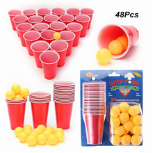 1 Set Entertainment Fun Party Drinking Game Party Game Drin king Toy Board Game Beer Pong Kit 24 Pong Balls and 24 Red Cups(China)