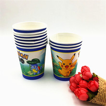10pcs/lot Pokemon GO Party Supplies Paper Cup Cartoon Birthday Decoration Baby Shower Theme Festival For Kids Girls Boys