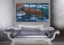 Tree Branches Over Tream Wall Art On Canvas With Handpainted Oil Painting Asian Wall Art Painting Canvas Black White