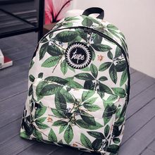 Women's Backpack Fashion Green Leaves Printing Female Backpack Student School Bag Casual Shoulder Bag For Teenagers Girls(China)