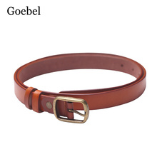 Goebel Ladies Designer Belts Pure Color Cow Split Leather Belts For Women Brand Simple Pin Buckle Womens Belt(China)