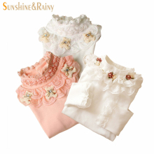 2017 Girls Lace Shirt Kids Autumn Lace Blouses Long Sleeve Children's Shirts Flower Tops Winter Shirts For School Girls 2~12Y