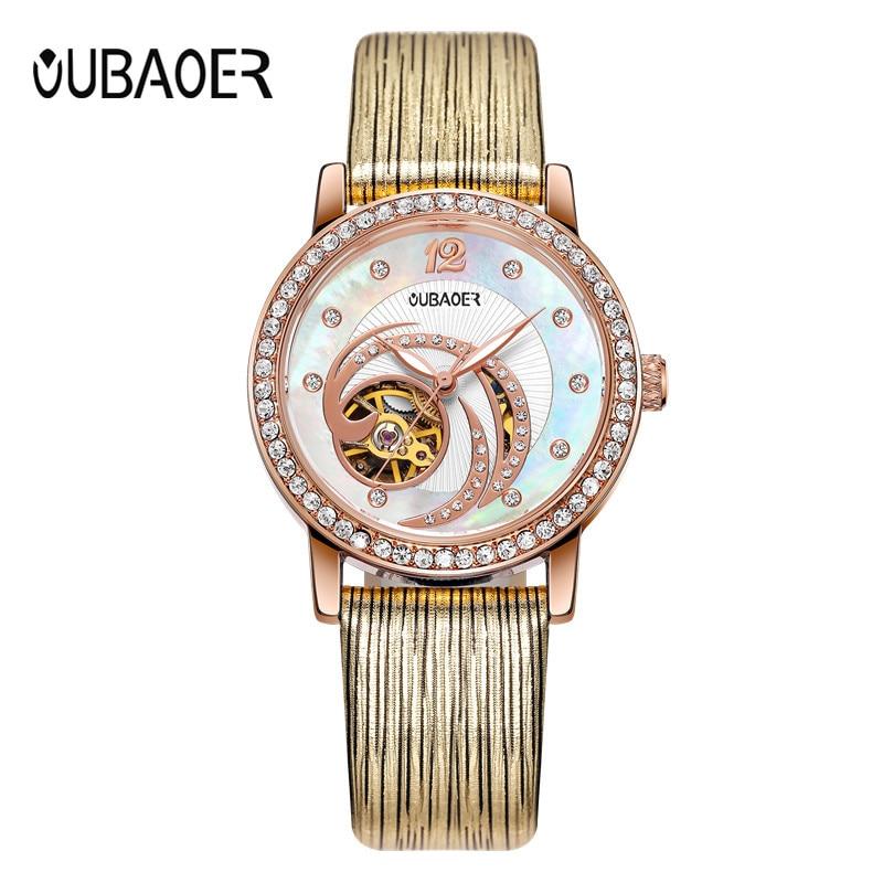 Ladies Automatic Wrist Watch Women OUBAOER Fashion Casual Mechanical Watch Clock Women Dress Watches Montre Femme<br>