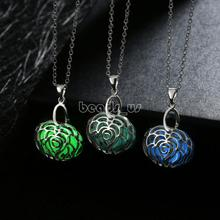 Jewelry Necklace,Jewelry Making, Zinc Alloy, with Fluorescent Powder Stone, Flower, oval chain & luminated & hollow