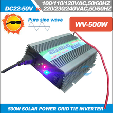 Free Shipping!! 500W on grid tie solar power inverter pure sine wave inverter DC22-50V to 220VAC/110VAC micro grid tie inverter(China)