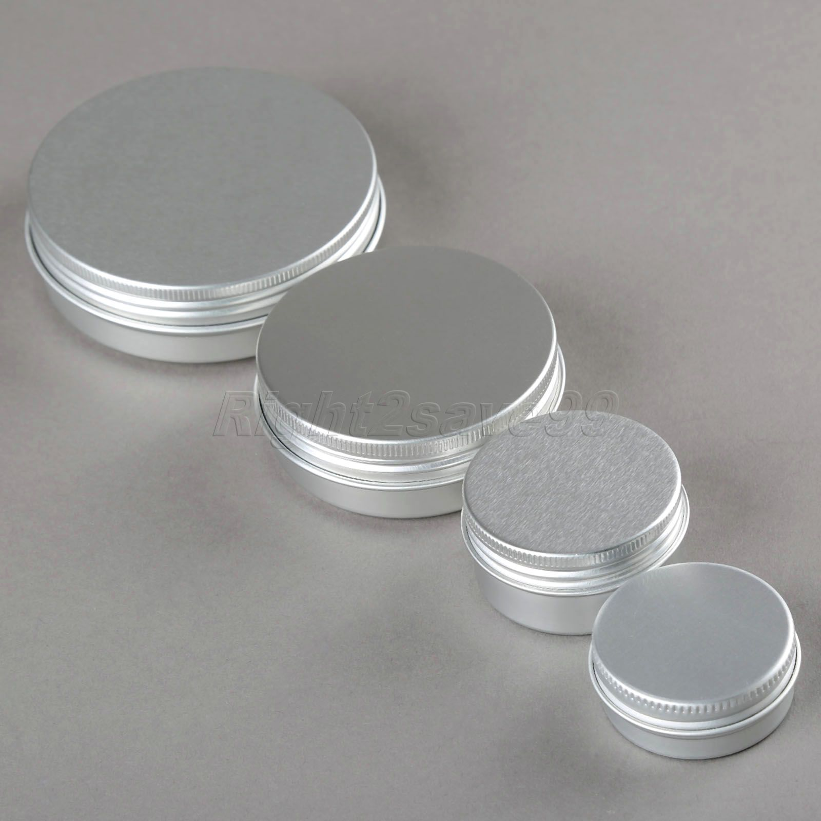 10PCS Aluminium Cosmetic jar 15g 30g 60g 100g Metal Cream Jars screw lid Silver tin ointment container bottle candle can box(China (Mainland))