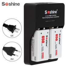 2pcs Soshine 9V 6F22 650mAh High Capacity  Li-ion Rechargeable Battery + 9V Smart Charger with LED Indicator