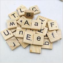 100pcs/set Wooden Puzzle Box Alphabet Scrabble Tiles Letters Jigsaw puzzle squares For Crafts Wood toys for Children boys girls
