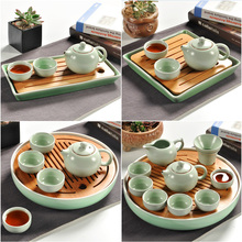 New,bamboo & ceramic tray,Kungfu pot trivets,drain drawer,tools/accessories,for bone china tea sets/kettle,for Chinese Puer Tea(China)