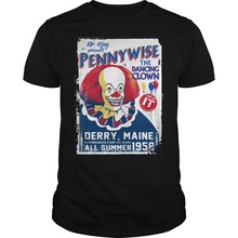 Pennywise DANCING CLOWN T SHIRT IT MOVIE FILM RETRO VINTAGE HORROR CULT White Style Harajuku Funny Men T-Shirts Men Print