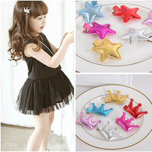 3 Pcs/lot Cute Style Hair Accessories New Design Leather Shiny Star Head Accessories Girls Heart Crown Hairpins kids accessories(China)