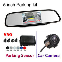 High Resolution 5 TFT Mirror Monitor Parking Radar with CCD Rearview Camera bibi Sound Parking Sensor Assistance Security 3 in 1
