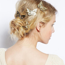 Hot sale 2pcs Elegant Gold/ White/Black Butterfly Hairclip Hair Accessory For Bridal Wedding Clip