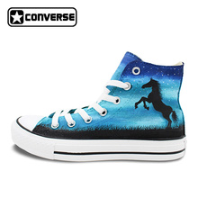 Converse Chuck Taylor Mens Womens Shoes Night Sky Horse Original Design Hand Painted Shoes High Top Woman Man Sneakers Best Gift(China)