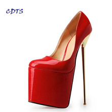 CDTS zapatos Plus:40-46 47 48 49 50 Spring 2017 platforms 22cm Metal thin high heels wedding shoes Crossdresser pumps Stiletto(China)