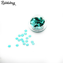 Rolabling 1PC/BOX Dark Green 3D Manicure Art Design DIY Nail Art Decorations Powder Snow Flake Design Nail Glitter Powder Dust