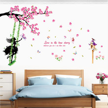 2017 new wall stickers home decoration accessories DIY Butterfly Flower Fairy Stickers wall decals Living Room Stickers adesivos(China)