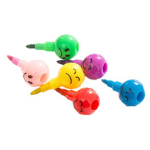 New 7 Colors Cute Stacker Swap Smile Face Crayons Children Drawing Gift Jun23 Professional Factory price Drop Shipping
