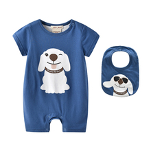 New 2017 Newborn Baby Boys Romper with Bib Cute Dog baby Clothing Cotton Baby one piece Jumpsuits