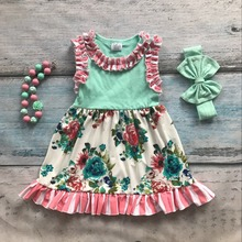 Spring summer cotton design new baby girls kids boutique clothing dress sets mint floral ruffles with matching accessories set