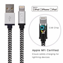 3PCS [MFi Certified] CACOY 2m for Lightning to USB Cable Braided Charging Long Cord with Metal Casing for iPhone 7 plus 6s 6 5s