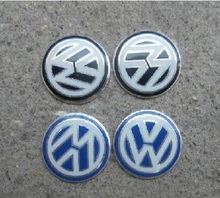 2Pc Car Sticker for VW Volkswagen Car logo auto Key Fob Emblem Badge Radio button Sticker for Golf Sagitar Scirocco Tiguan 14mm