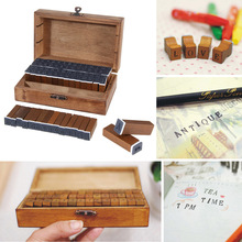 70pcs Capital Letter Retro Vintage Wooden Craft Box Alphabet  Stamp Multi-purpose Alphabet Letter Nod Rubber Stamps Set Wooden