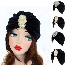 Elegant luxury black pleated Velvet Turban Headbands with silver pearled  hair accessory