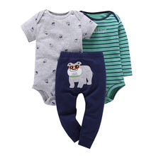 3Pcs Spring Summer Grey Dog Short Sleeve Bodysuits+Green Striped Long Sleeve +Carribean Dog Pants Baby Boy Clothes Sets V20