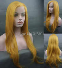 Sexy LONG Silky Lace Front Wig Yellow Free Shipping
