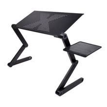 TFBC-Portable Foldable Adjustable Laptop Desk Computer Table Stand Tray For Sofa Bed Black