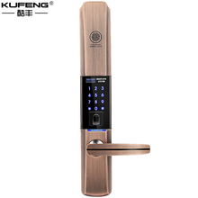 2017 KUFENG New Modern Smart home fingerprint lock security door lock electronic credit card lock lock red bronze freeshipping(China)