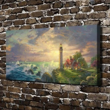 H1116 Thomas Kinkade The Guiding Light Scenery, HD Canvas Print Home decoration Living Room Bedroom Wall pictures painting(China)