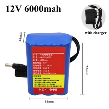 18650 lithium battery pack 12V 6000mah li-ion battery for audio speakers LED lights backup battery ebike electric toys + charger(China)